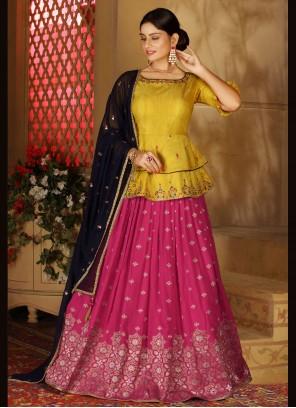 Hot Pink and Yellow Silk Mehndi Readymade Lehenga Choli