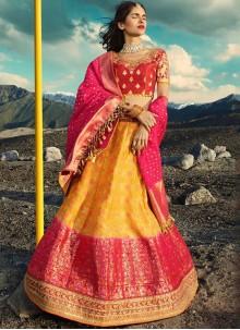 Hot Pink and Yellow Zari Lehenga Choli