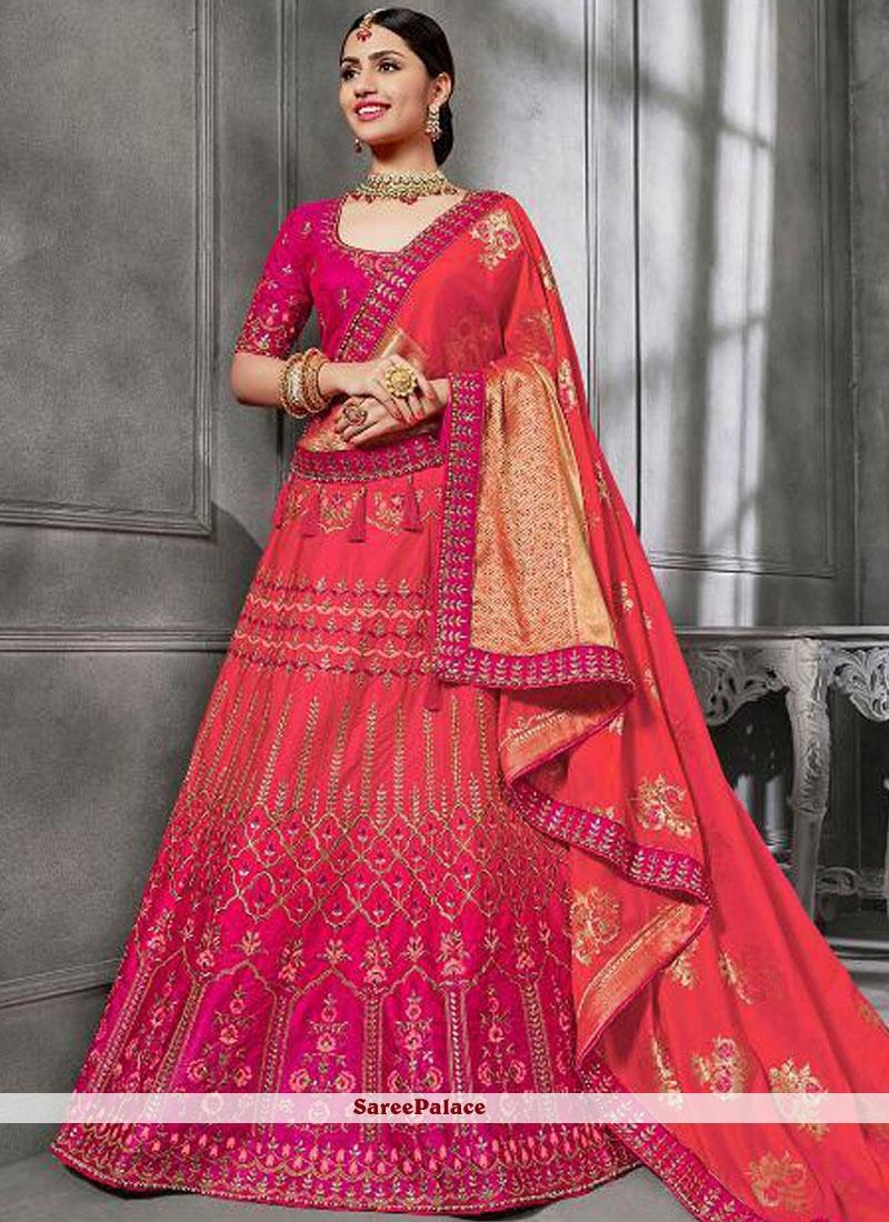 ef54ee528c Buy Hot Pink Art Silk Bridal Lehenga Choli Online