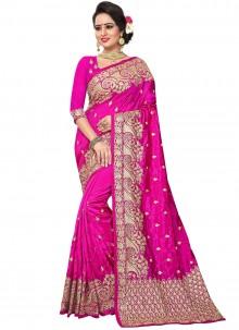 Hot Pink Art Silk Bridal Traditional Saree
