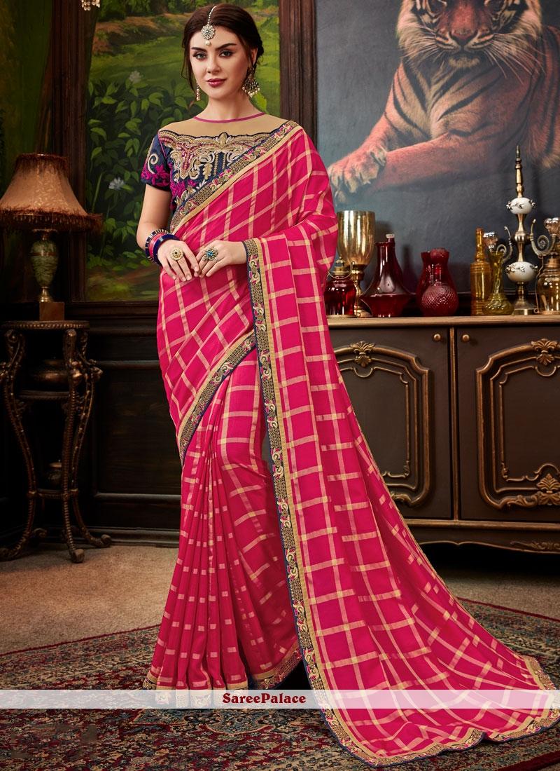 Hot Pink Art Silk Embroidered Designer Traditional Saree