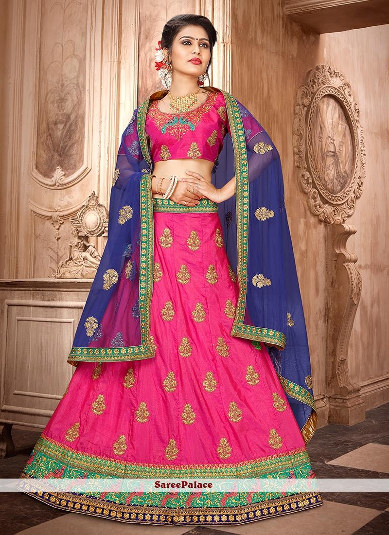 Hot Pink Art Silk Embroidered Trendy Lehenga Choli
