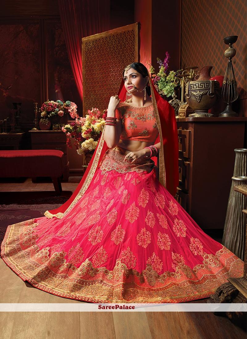 Hot Pink Art Silk Lehenga Choli