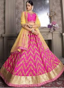 Hot Pink Art Silk Reception Designer Lehenga Choli