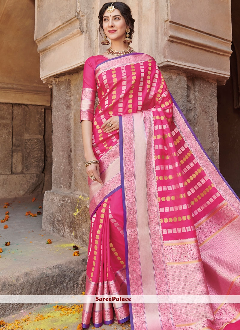 02a4173f0274fc Buy Hot Pink Art Silk Traditional Saree Online