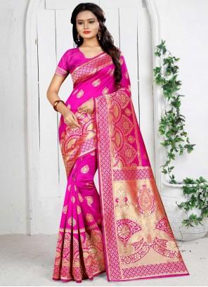 Hot Pink Art Silk Weaving Traditional Designer Saree