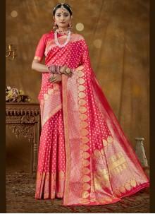 Hot Pink Banarasi Silk Traditional Designer Saree