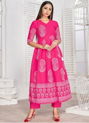 Hot Pink Block Print Rayon Designer Kurti