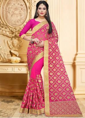 Hot Pink Bridal Classic Designer Saree