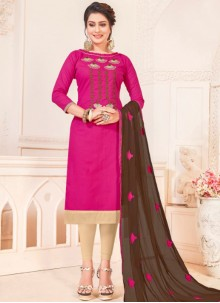 Hot Pink Casual Cotton   Churidar Suit