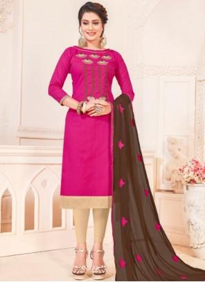 Hot Pink Casual Cotton   Churidar Suit