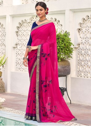 Hot Pink Casual Faux Georgette Saree