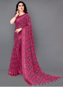 Hot Pink Casual Printed Saree