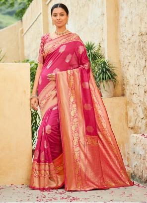 Hot Pink Ceremonial Traditional Designer Saree