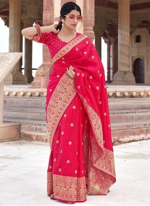 Hot Pink Color Traditional Designer Saree