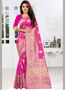 Hot Pink Color Traditional Saree