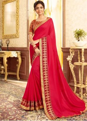 Hot Pink Color Traditional Saree