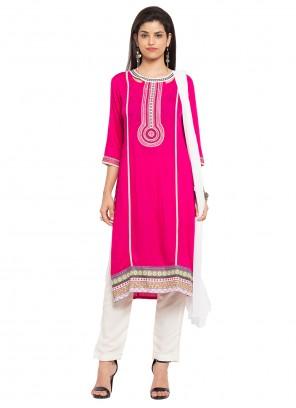 Hot Pink Cotton Embroidered Readymade Salwar Kameez