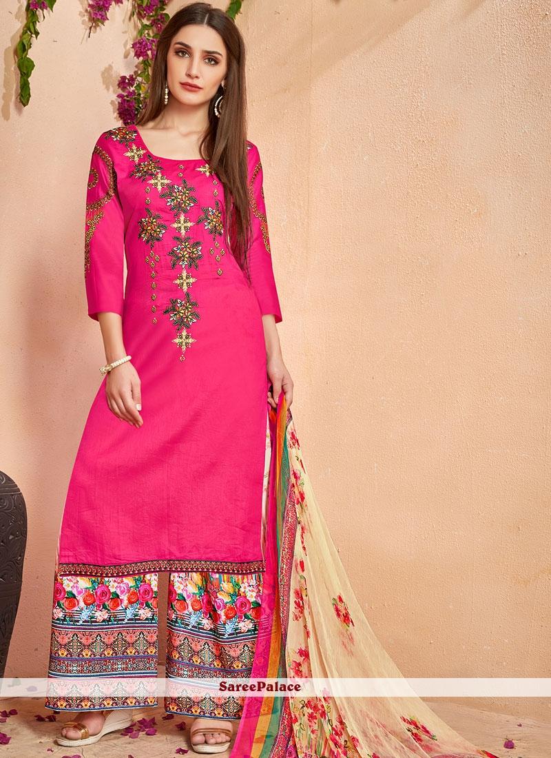 Hot Pink Cotton   Resham Designer Palazzo Suit
