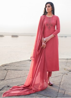 Hot Pink Cotton Silk Embroidered Pant Style Suit