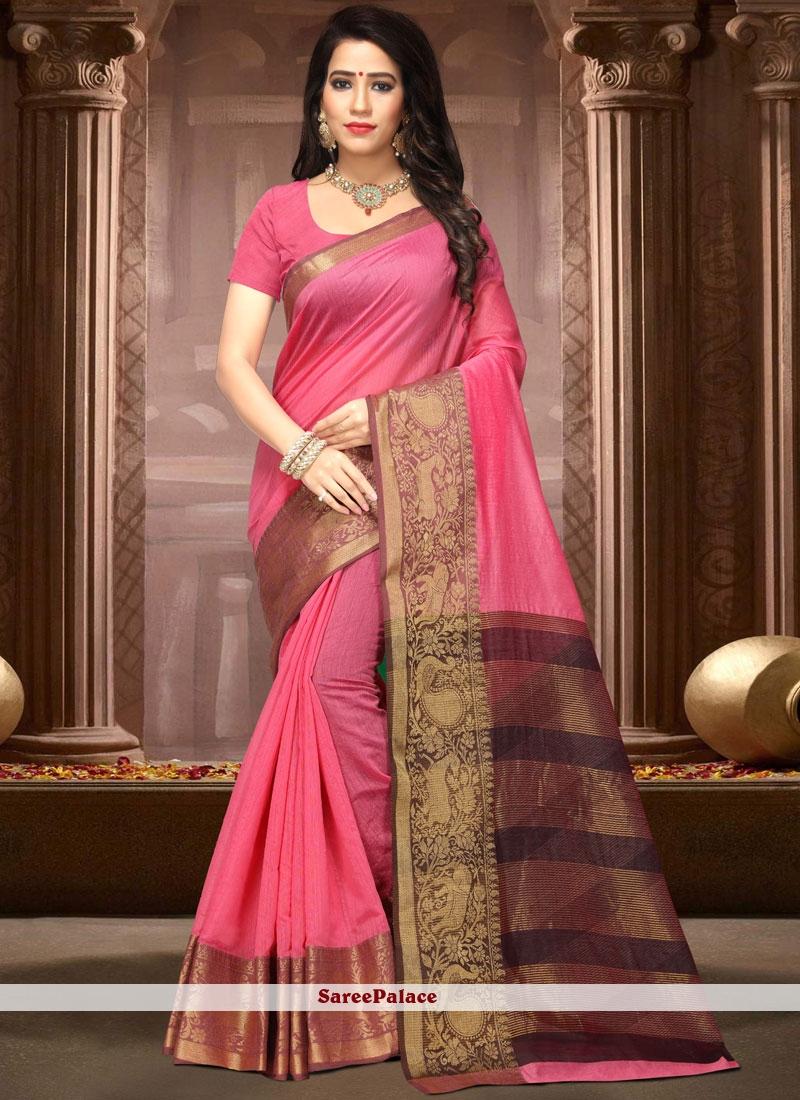 Hot Pink Cotton Silk Traditional Designer Saree