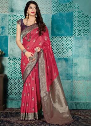 Hot Pink Designer Saree