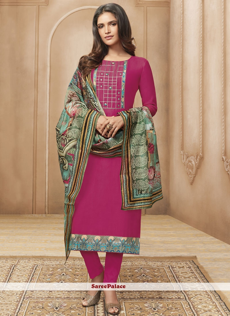 Hot Pink Designer Straight Suit