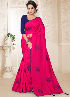 Hot Pink Embroidered Art Silk Traditional Designer Saree