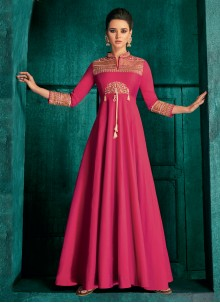 Hot Pink Embroidered Ceremonial Readymade Gown