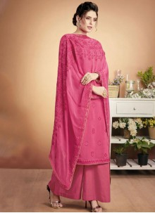 Hot Pink Embroidered Designer Palazzo Suit