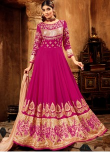Hot Pink Embroidered Festival Anarkali Salwar Suit