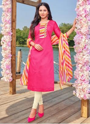 Hot Pink Embroidered Festival Churidar Designer Suit