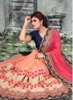 Hot Pink Embroidered Festival Designer Half N Half Saree