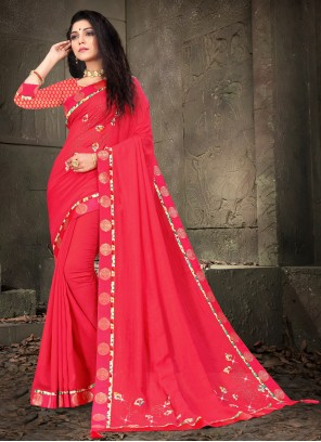 Hot Pink Embroidered Festival Designer Traditional Saree