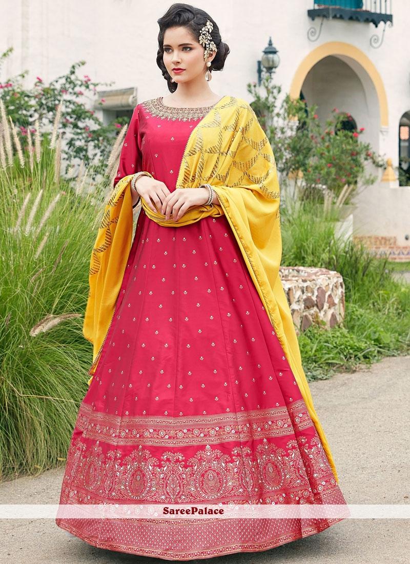 Hot Pink Embroidered Floor Length Anarkali Suit