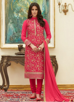 Hot Pink Embroidered Pant Style Suit