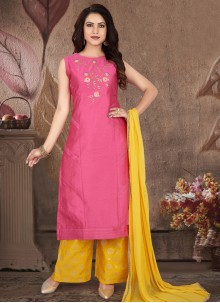 Hot Pink Embroidered Readymade Suit