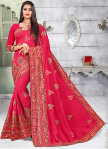 Hot Pink Embroidered Silk Classic Saree