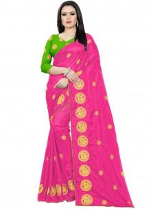 Hot Pink Embroidered Silk Saree
