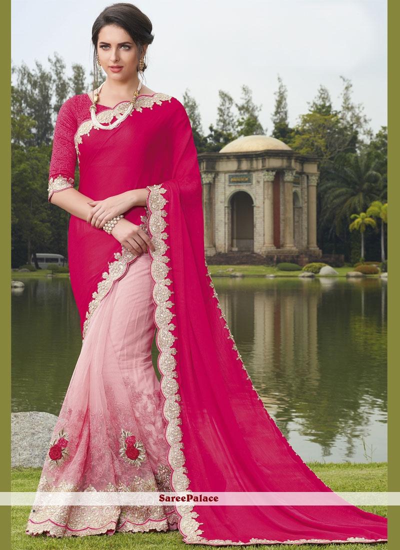 Hot Pink Embroidered Work Net Designer Half N Half Saree