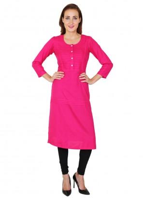 Hot Pink Fancy Party Wear Kurti