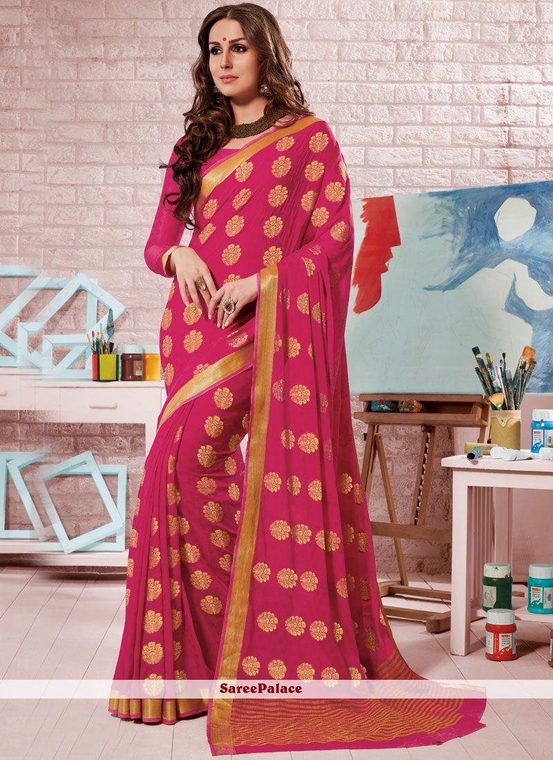 Hot Pink Fancy Traditional Designer Saree