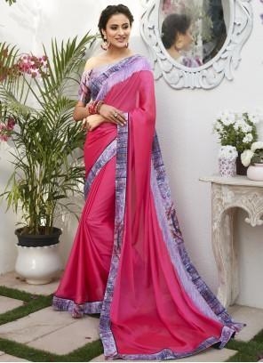 Hot Pink Faux Chiffon Festival Classic Designer Saree