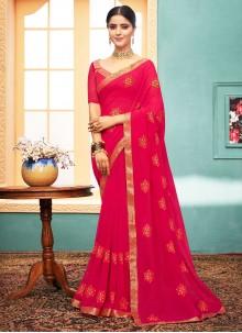 Hot Pink Faux Georgette Classic Designer Saree