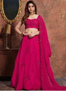 Hot Pink Faux Georgette Embroidered Lehenga Choli