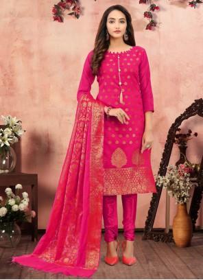Hot Pink Festival Churidar Salwar Suit