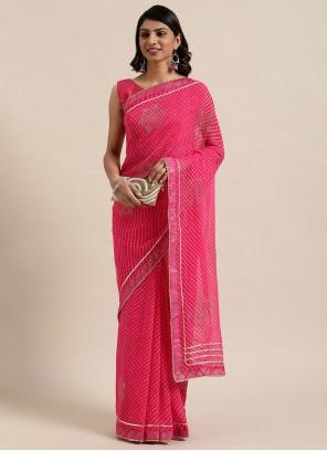 Hot Pink Festival Classic Saree