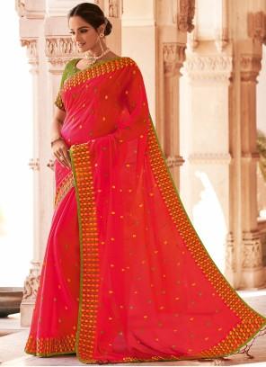 Hot Pink Festival Faux Chiffon Classic Designer Saree
