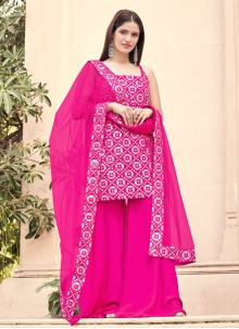 Hot Pink Festival Faux Georgette Designer Pakistani Suit