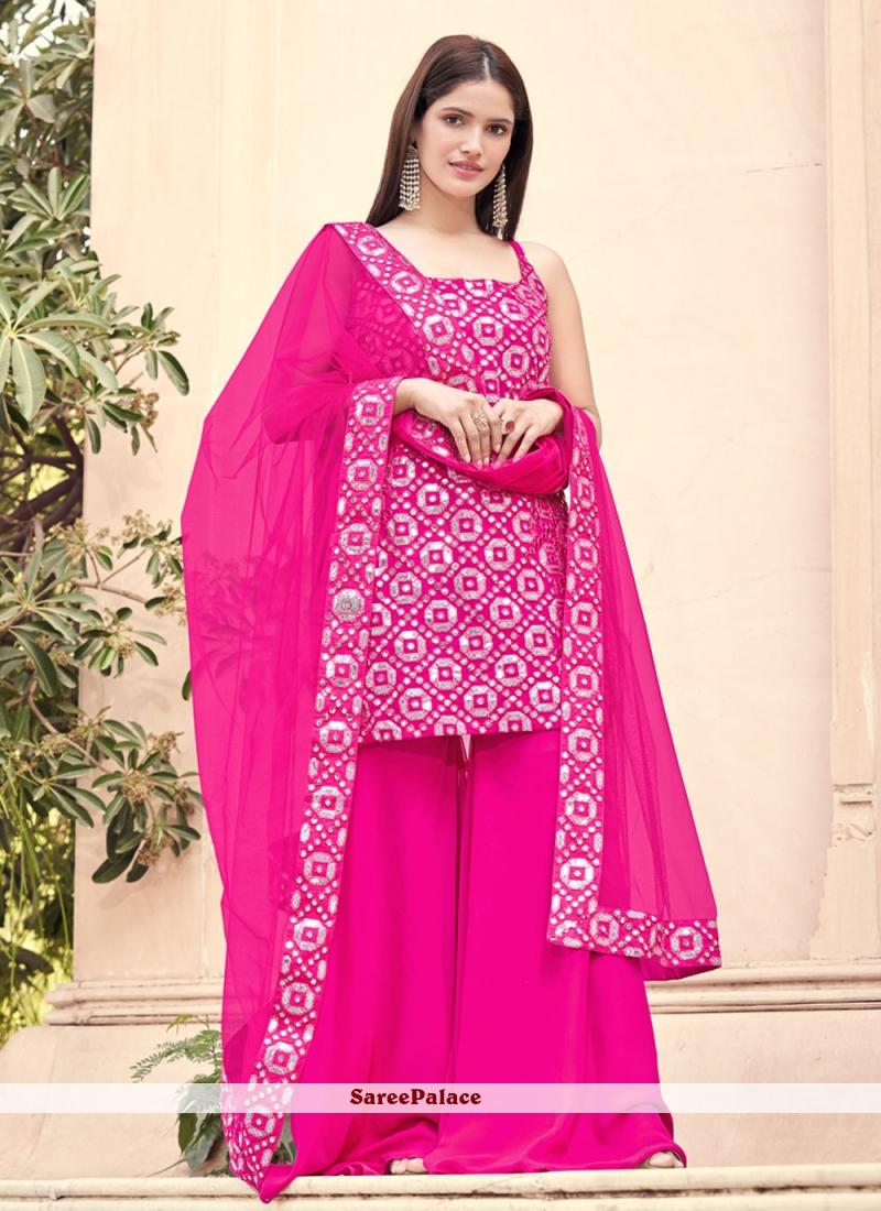 Hot Pink Festival Faux Georgette Designer Pakistani Suit